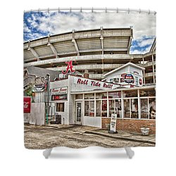 Shadow Of The Stadium Shower Curtain by Scott Pellegrin