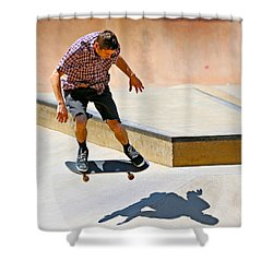 Skateboarding Shower Curtain by Paul Fell