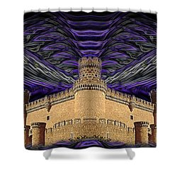 Stormy Keep Shower Curtain by J D Owen