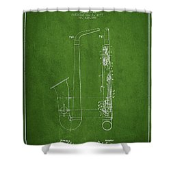 Saxophone Patent Drawing From 1899 - Green Shower Curtain by Aged Pixel