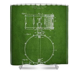 Snare Drum Patent Drawing From 1939 - Green Shower Curtain by Aged Pixel