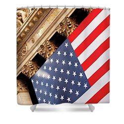 Wall Street Flag Shower Curtain by Brian Jannsen
