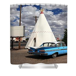 Route 66 - Wigwam Motel Shower Curtain by Frank Romeo