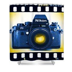 35mm Blues Nikon F-3hp Shower Curtain by Mike McGlothlen