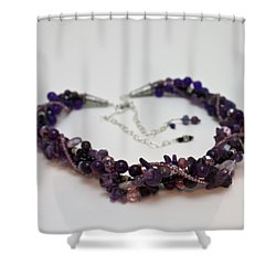 3607 Multi Strand Adjustable Amethyst Necklace Shower Curtain by Teresa Mucha