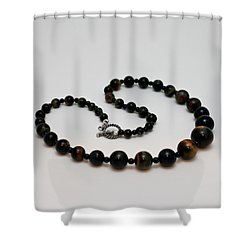 3608 Blue Tiger Eye Graduated Necklace Shower Curtain by Teresa Mucha