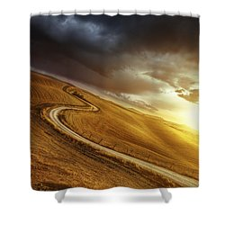 A Country Road In Field At Sunset Shower Curtain by Evgeny Kuklev