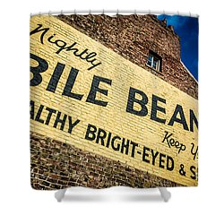Bile Beans Advertising Shower Curtain by Bailey Cooper