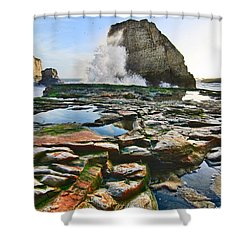 Dramatic View Of Shark Fin Cove In Santa Cruz California. Shower Curtain by Jamie Pham
