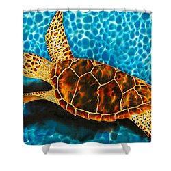 Green Sea Turtle Shower Curtain by Daniel Jean-Baptiste