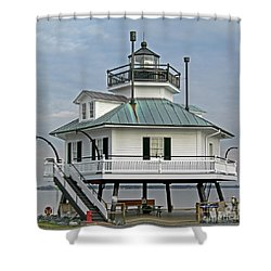 Hooper Straight Lighthouse Shower Curtain by Skip Willits