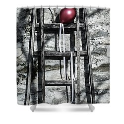 Red Balloon Shower Curtain by Joana Kruse