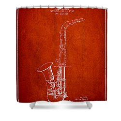 Saxophone Patent Drawing From 1937 - Red Shower Curtain by Aged Pixel