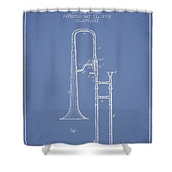 Trombone Patent From 1902 - Light Blue Shower Curtain by Aged Pixel