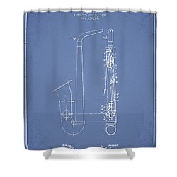 Saxophone Patent Drawing From 1899 - Light Blue Shower Curtain by Aged Pixel