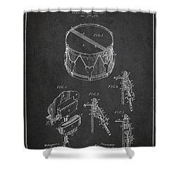 Vintage Snare Drum Patent Drawing From 1889 - Dark Shower Curtain by Aged Pixel