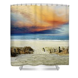Beach View Shower Curtain by Les Cunliffe