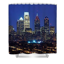 Buildings Lit Up At Night In A City Shower Curtain by Panoramic Images