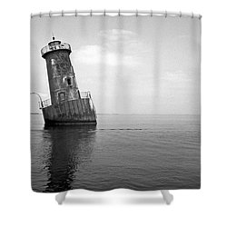 Sharps Island Lighthouse Shower Curtain by Skip Willits