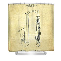 Saxophone Patent Drawing From 1899 - Vintage Shower Curtain by Aged Pixel