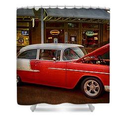55 Chevy Belair Shower Curtain by Saija  Lehtonen