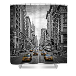 5th Avenue Yellow Cabs Shower Curtain by Melanie Viola