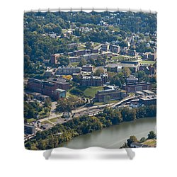 aerials of WVVU campus Shower Curtain by Dan Friend