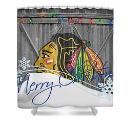 Blackhawks shower curtain