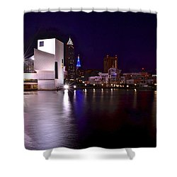 Cleveland Skyline Shower Curtain by Frozen in Time Fine Art Photography