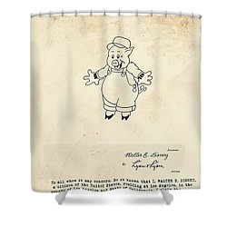 Disney Pig Patent Shower Curtain by Marlene Watson