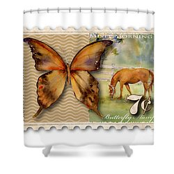7 Cent Butterfly Stamp Shower Curtain by Amy Kirkpatrick