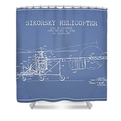 Sikorsky Helicopter Patent Drawing From 1943 Shower Curtain by Aged Pixel