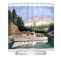 75 Foot Classic Bridgrdeck Yacht Shower Curtain by Jack Pumphrey
