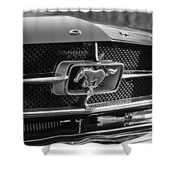 1965 Shelby Prototype Ford Mustang Grille Emblem Shower Curtain by Jill Reger