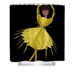 8 Yellow Ballerina Shower Curtain by Andee Design