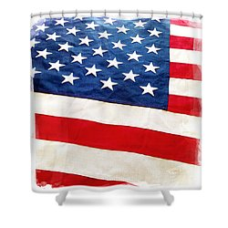 American Flag Shower Curtain by Les Cunliffe