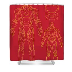 Iron Man Shower Curtain by Caio Caldas