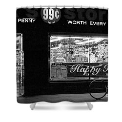 99 Cents - Worth Every Penny Shower Curtain by Miriam Danar
