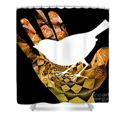 A Bird In The Hand Is Worth Two In The Bush  Shower Curtain by Elizabeth McTaggart