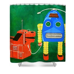 A Boy And His Dog Shower Curtain by Karyn Robinson