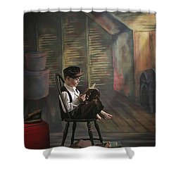 A Boy Posed Reading Old Books Victoria Shower Curtain by Pete Stec