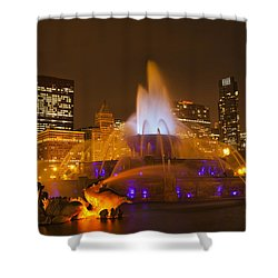 A Chicago Twilight Shower Curtain by Andrew Soundarajan