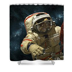 A Cosmonaut Against A Background Shower Curtain by Marc Ward