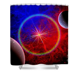 A Distant Alien Star System Shower Curtain by Mark Stevenson