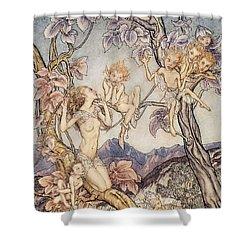 A Fairy Song From A Midsummer Nights Dream Shower Curtain by Arthur Rackham