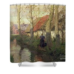 A French River Landscape With A Woman By Cottages Shower Curtain by Fritz Thaulow