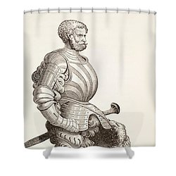A German Knight, From Military And Religious Life In The Middle Ages By Paul Lacroix Shower Curtain by French School