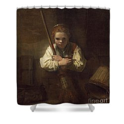 A Girl With A Broom Shower Curtain by Rembrandt