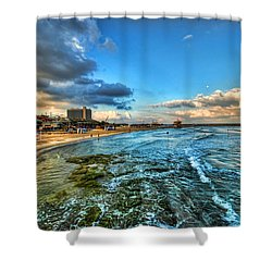a good morning from Hilton's beach Shower Curtain by Ron Shoshani