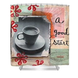 A Good Start Shower Curtain by Linda Woods